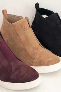 Hole In One Suede Wedge High Tops In Camel *Final Sale*-[option4]-[option5]-[option6]-[option7]-[option8]-Womens-Clothing-Shop