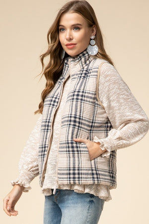 Plaid Puffer Vest In Taupe