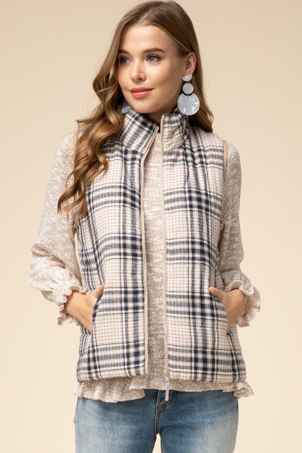 Plaid Puffer Vest In Taupe-[option4]-[option5]-[option6]-[option7]-[option8]-Womens-Clothing-Shop