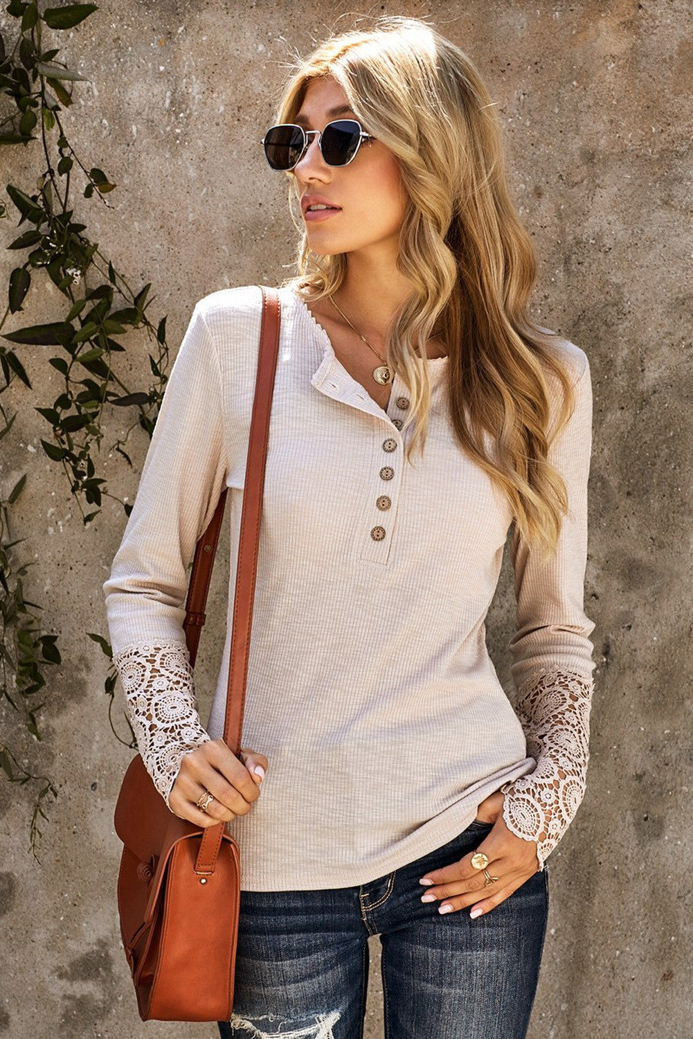 Novah Beige Crochet Lace Hem Sleeve Button Top-[option4]-[option5]-[option6]-[option7]-[option8]-Womens-Clothing-Shop