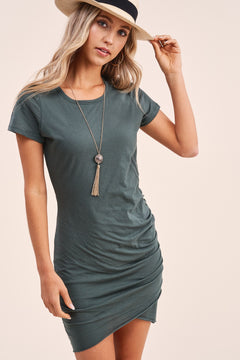 Let's Get Away Mini T-Shirt Dress In Forest