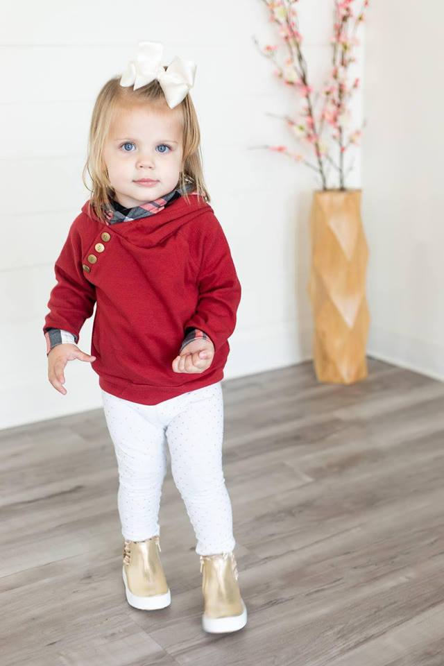 Kids Cranberry Plaid Doublehood