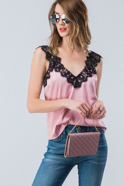 Eyelash Lace Silky Satin Cami In Pink-[option4]-[option5]-[option6]-[option7]-[option8]-Womens-Clothing-Shop