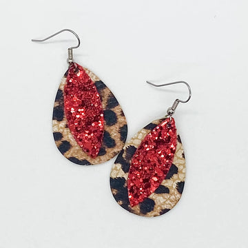 Red Glitter and Leopard Layered Itty Bitties