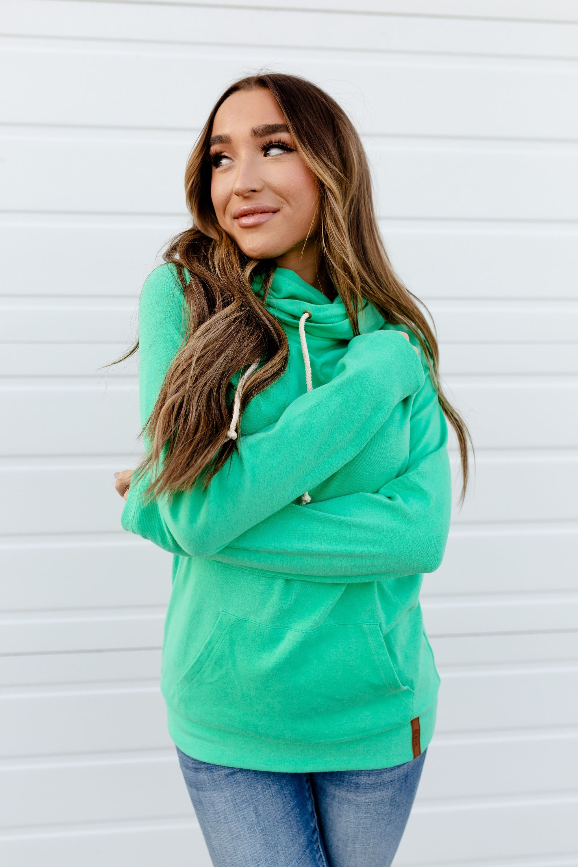 The Basic Doublehood Sweatshirt - Jade-[option4]-[option5]-[option6]-[option7]-[option8]-Womens-Clothing-Shop