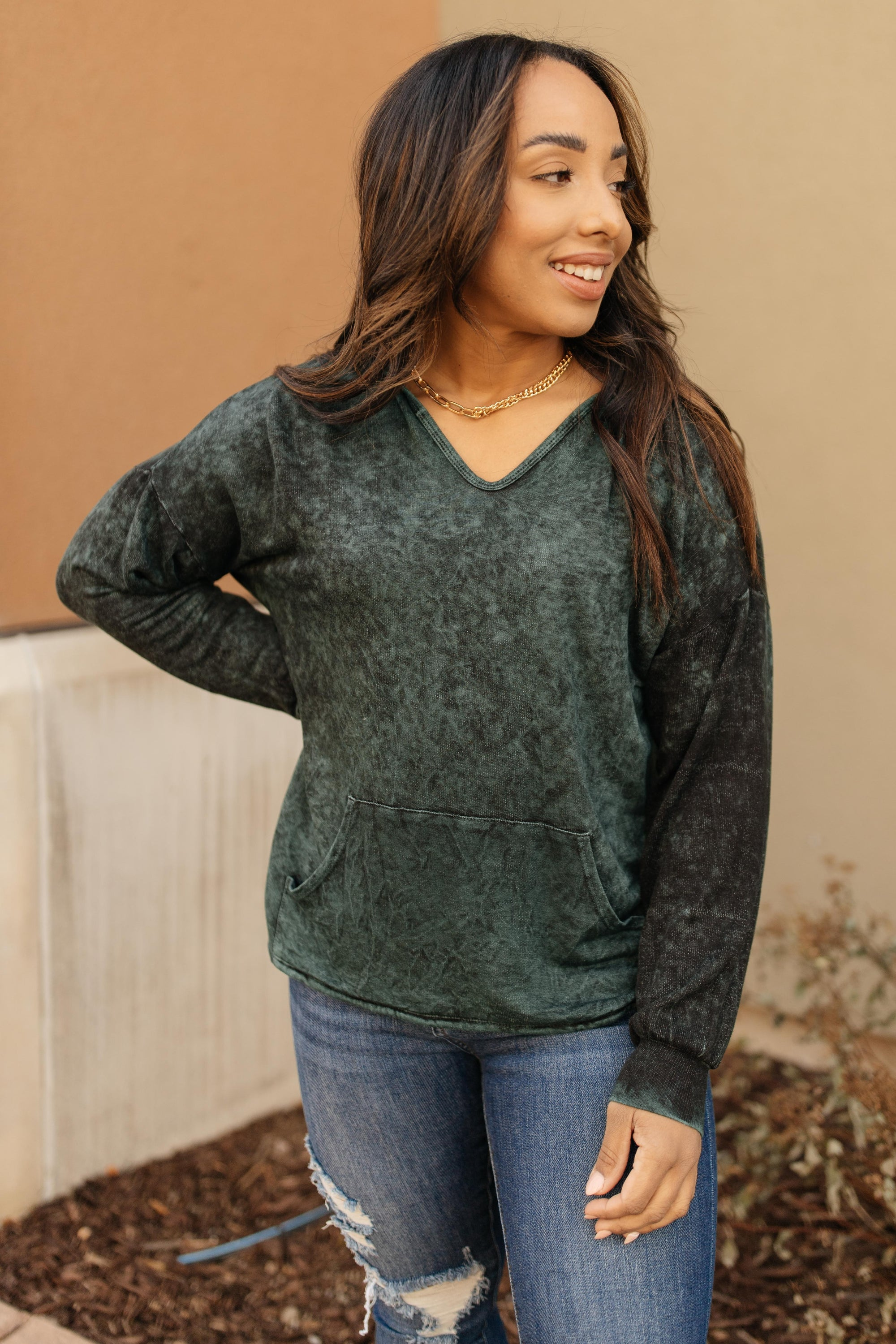 A Cozy Hooded Top in Hunter Green-[option4]-[option5]-[option6]-[option7]-[option8]-Womens-Clothing-Shop