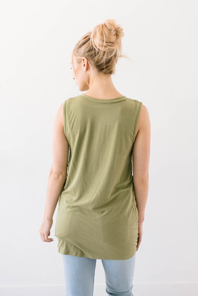 Sleeveless Knot Top in Olive-[option4]-[option5]-[option6]-[option7]-[option8]-Womens-Clothing-Shop