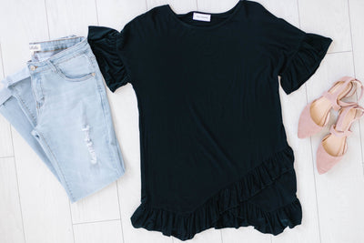 Weekend Ruffles Black Top-[option4]-[option5]-[option6]-[option7]-[option8]-Womens-Clothing-Shop