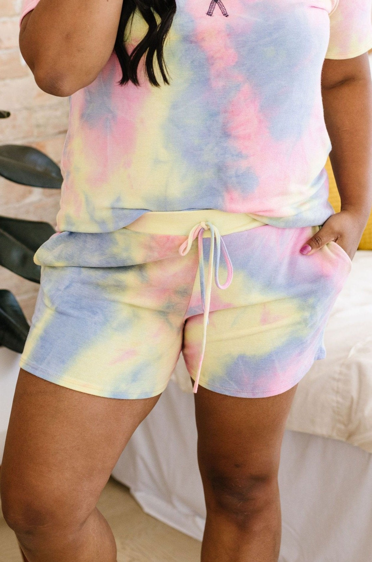 Brushed Knit Tie Dye Shorts In Blue-[option4]-[option5]-[option6]-[option7]-[option8]-Womens-Clothing-Shop