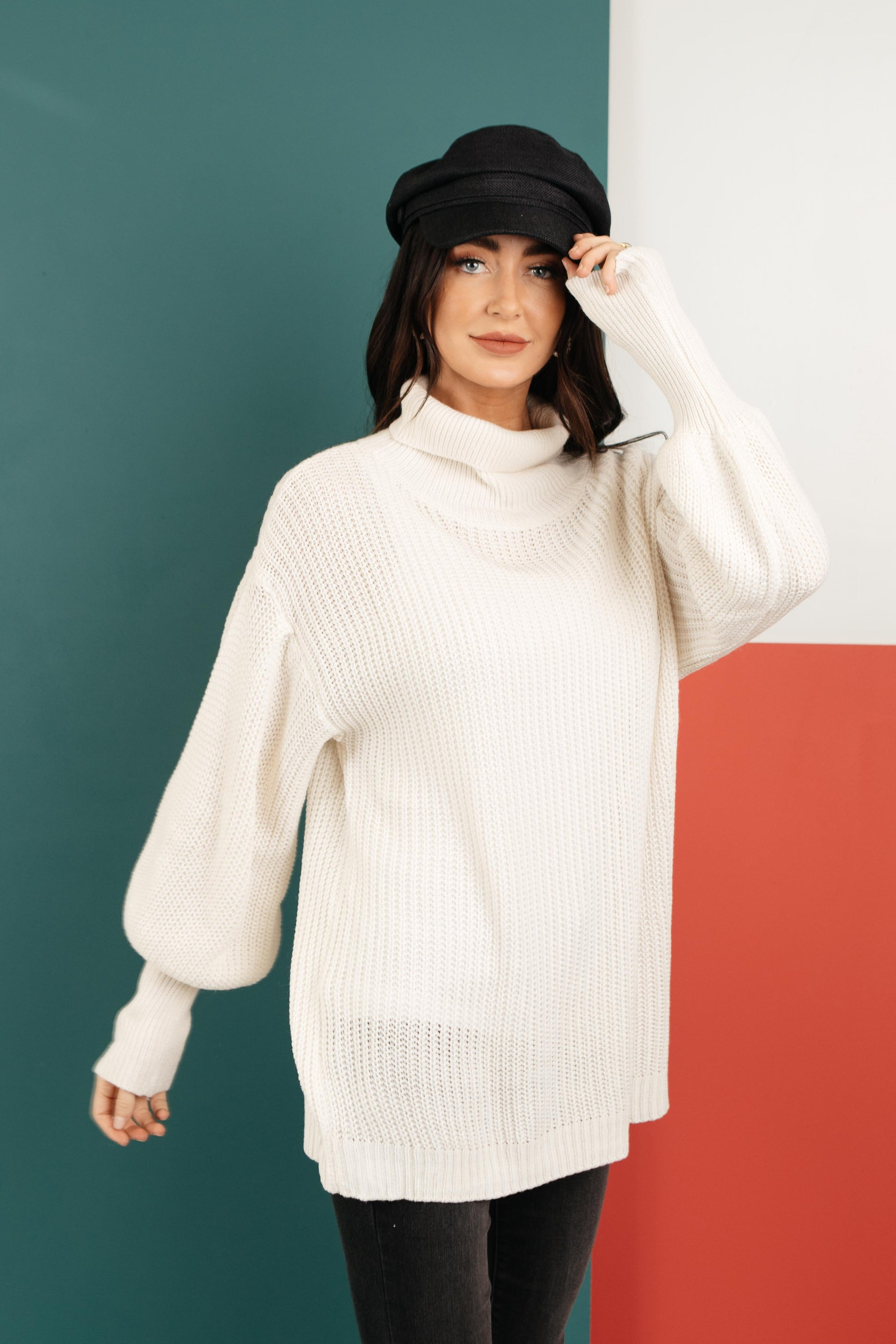 Cream Colored Classic Knit Sweater-[option4]-[option5]-[option6]-[option7]-[option8]-Womens-Clothing-Shop