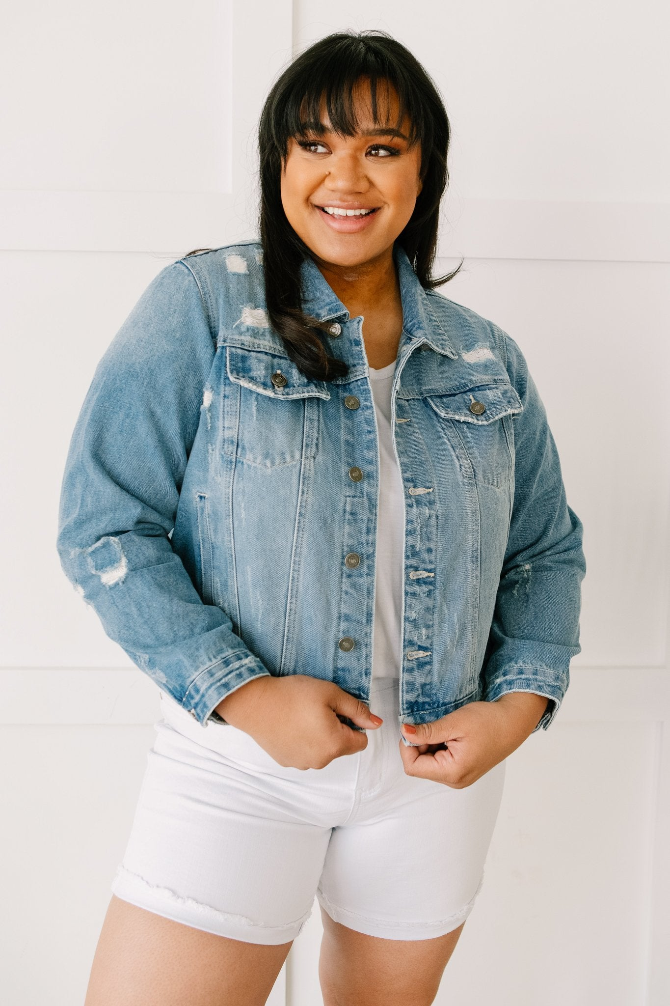 Distressed Vibes Denim Jacket-[option4]-[option5]-[option6]-[option7]-[option8]-Womens-Clothing-Shop