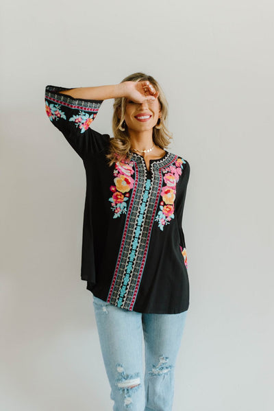 Flowers & Bells Embroidered Blouse-[option4]-[option5]-[option6]-[option7]-[option8]-Womens-Clothing-Shop