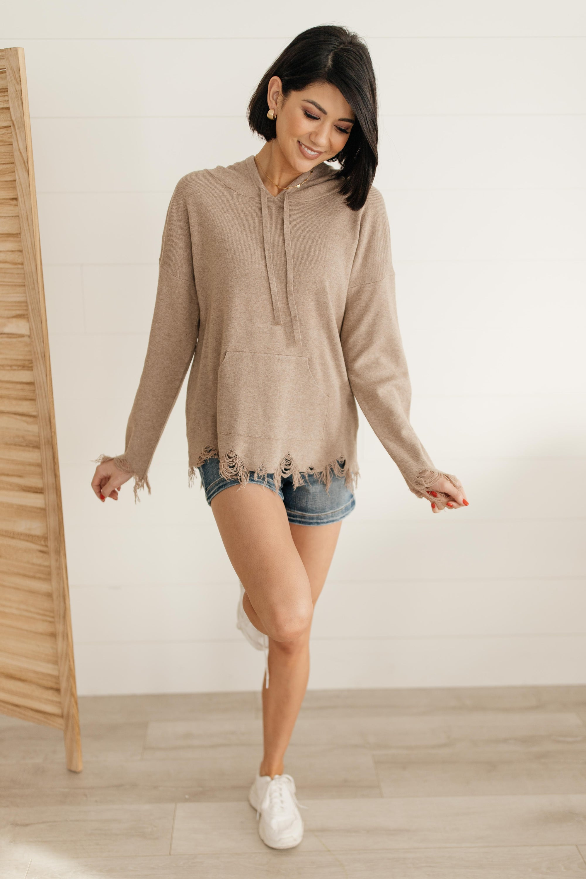 Frayed Edges Hoodie in Taupe-[option4]-[option5]-[option6]-[option7]-[option8]-Womens-Clothing-Shop