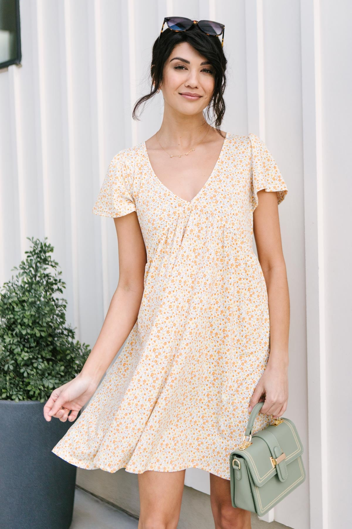 Freshly Picked Floral Dress in Yellow-[option4]-[option5]-[option6]-[option7]-[option8]-Womens-Clothing-Shop