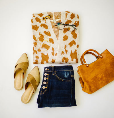 Giraffe Print Long Cardigan-[option4]-[option5]-[option6]-[option7]-[option8]-Womens-Clothing-Shop