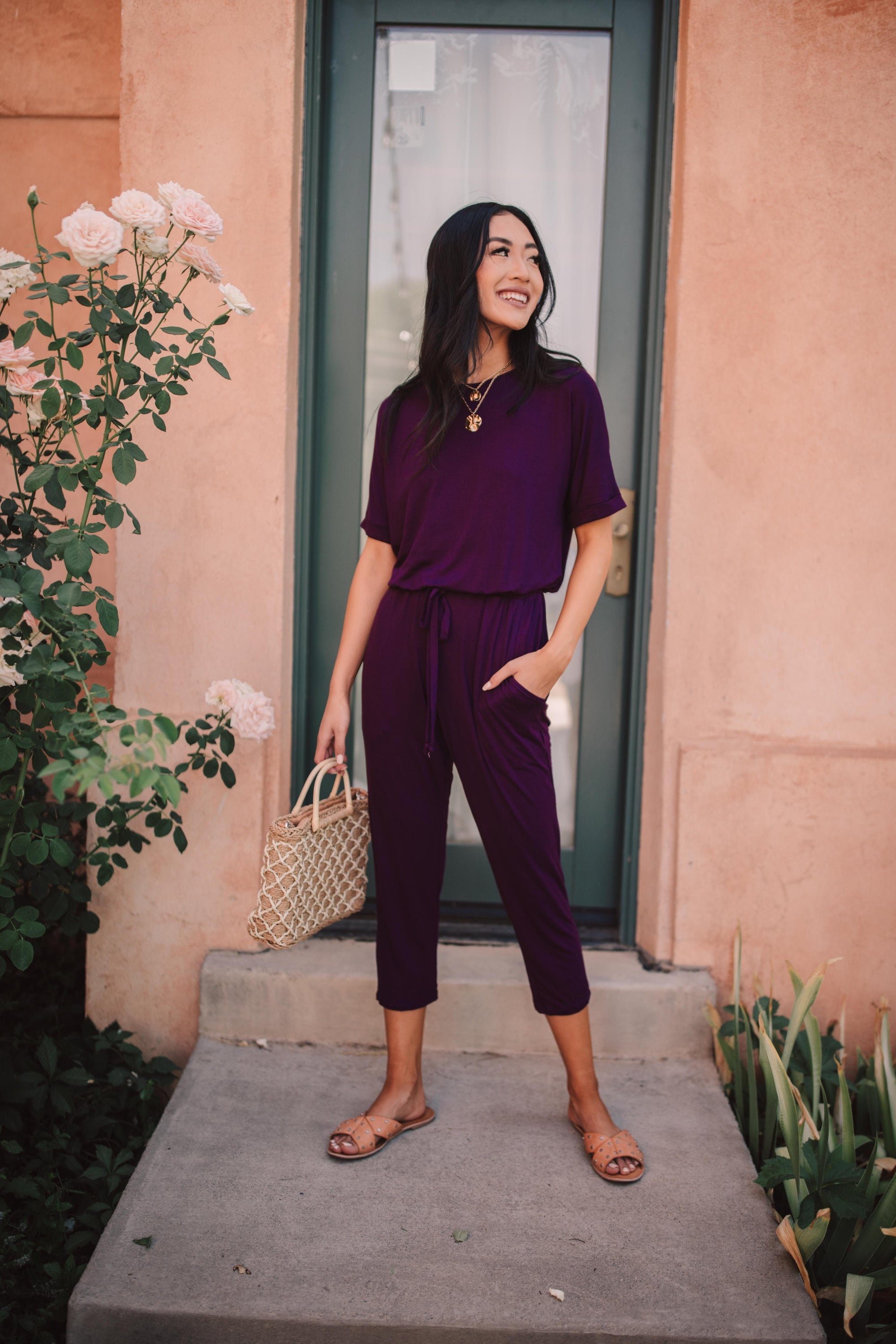Girl Next Door Jumpsuit In Plum-[option4]-[option5]-[option6]-[option7]-[option8]-Womens-Clothing-Shop