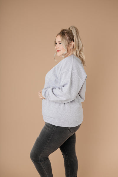 Good Vibes Heather Gray Sweatshirt-[option4]-[option5]-[option6]-[option7]-[option8]-Womens-Clothing-Shop