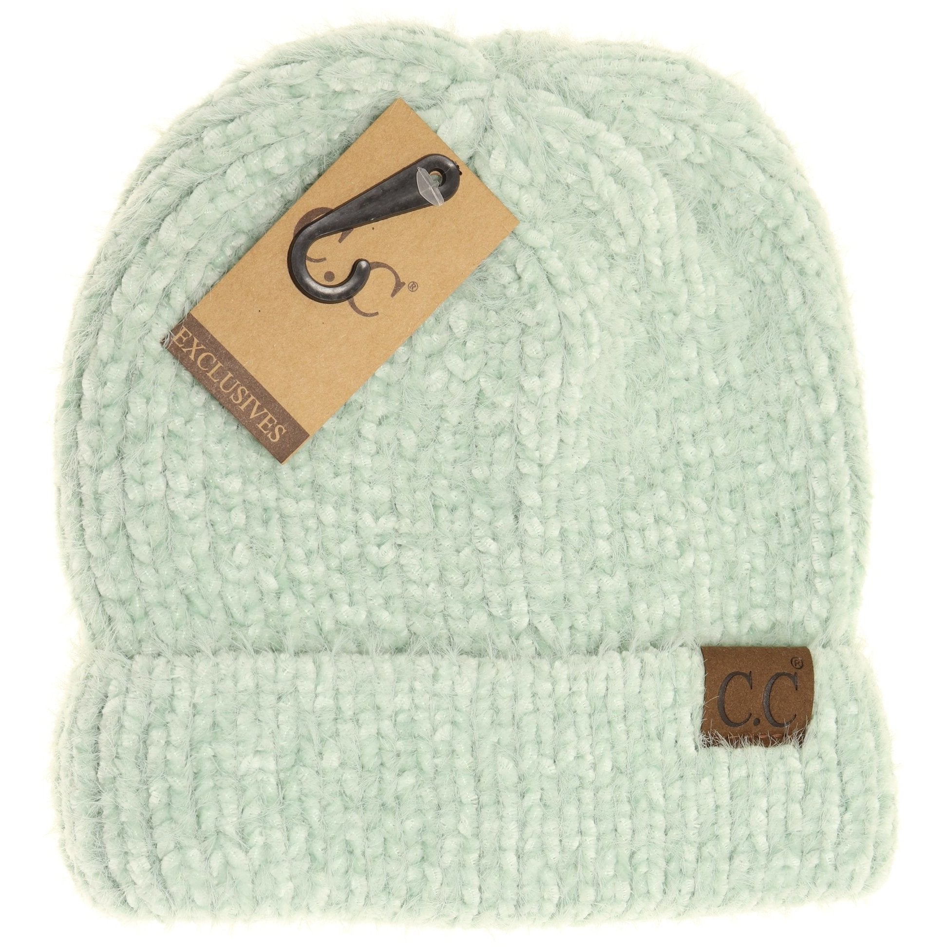 Fuzzy Chenille Two Tone CC Beanie-Mint-[option4]-[option5]-[option6]-[option7]-[option8]-Womens-Clothing-Shop