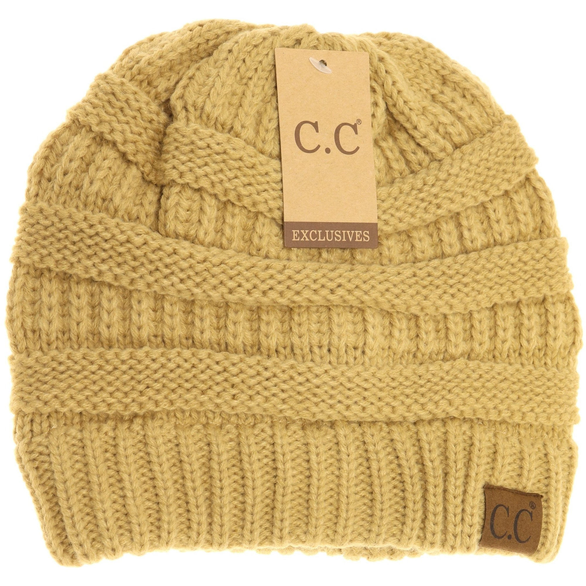 Classic Fuzzy Lined CC Beanie-Camel-[option4]-[option5]-[option6]-[option7]-[option8]-Womens-Clothing-Shop