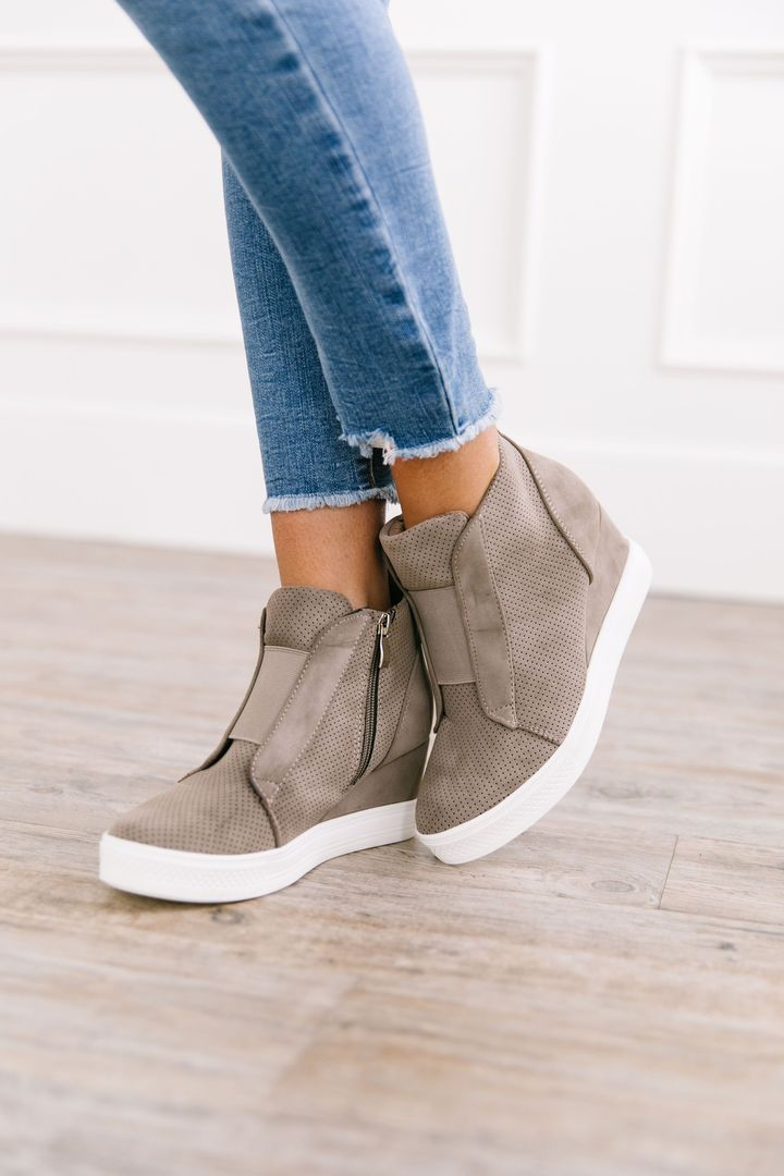 Hole In One Suede Wedge High Tops In Taupe *Final Sale*-[option4]-[option5]-[option6]-[option7]-[option8]-Womens-Clothing-Shop