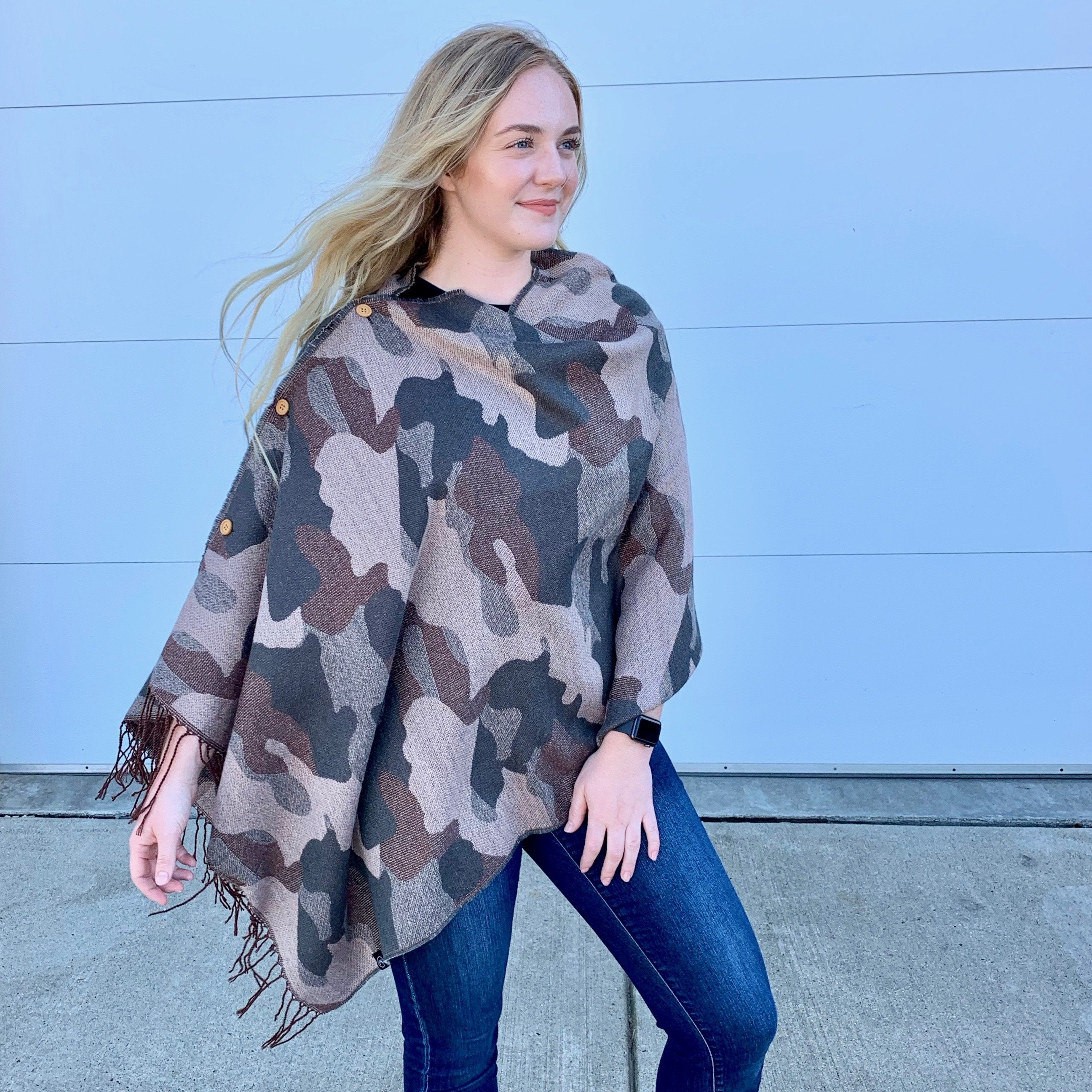 Camo Button Scarf