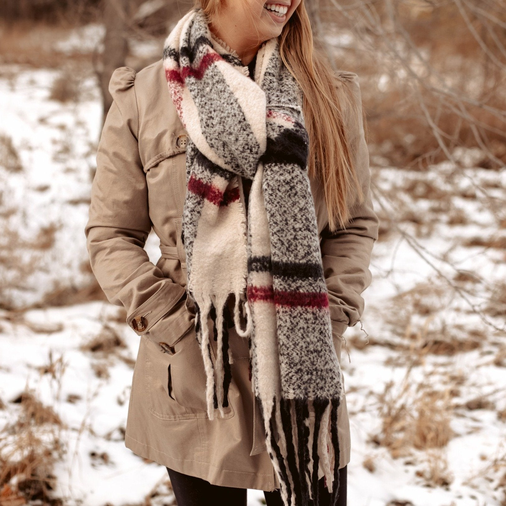 HOMETOWN SCARF - CREAM-[option4]-[option5]-[option6]-[option7]-[option8]-Womens-Clothing-Shop