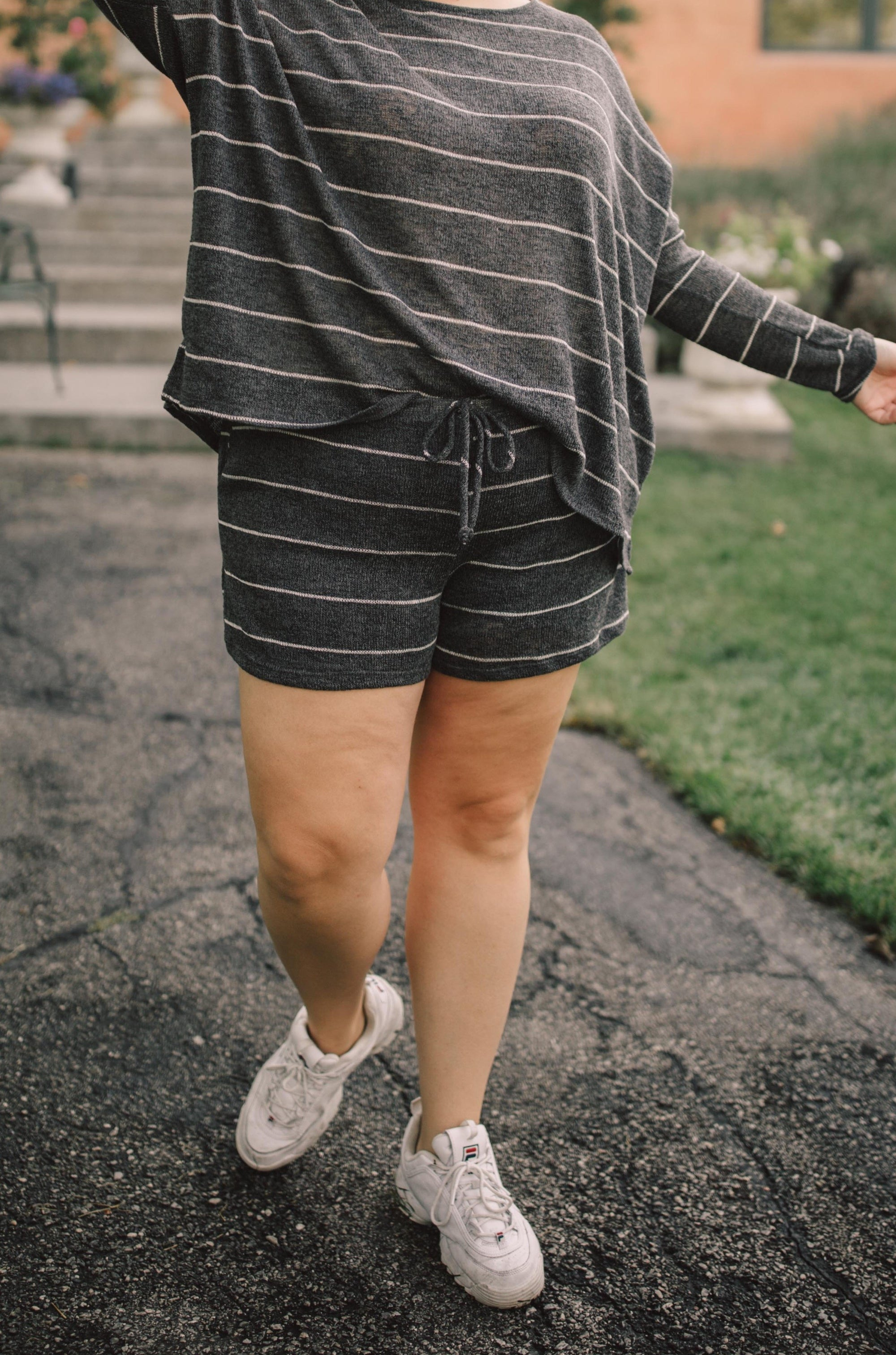 Lightweight Striped Shorts In Charcoal-[option4]-[option5]-[option6]-[option7]-[option8]-Womens-Clothing-Shop