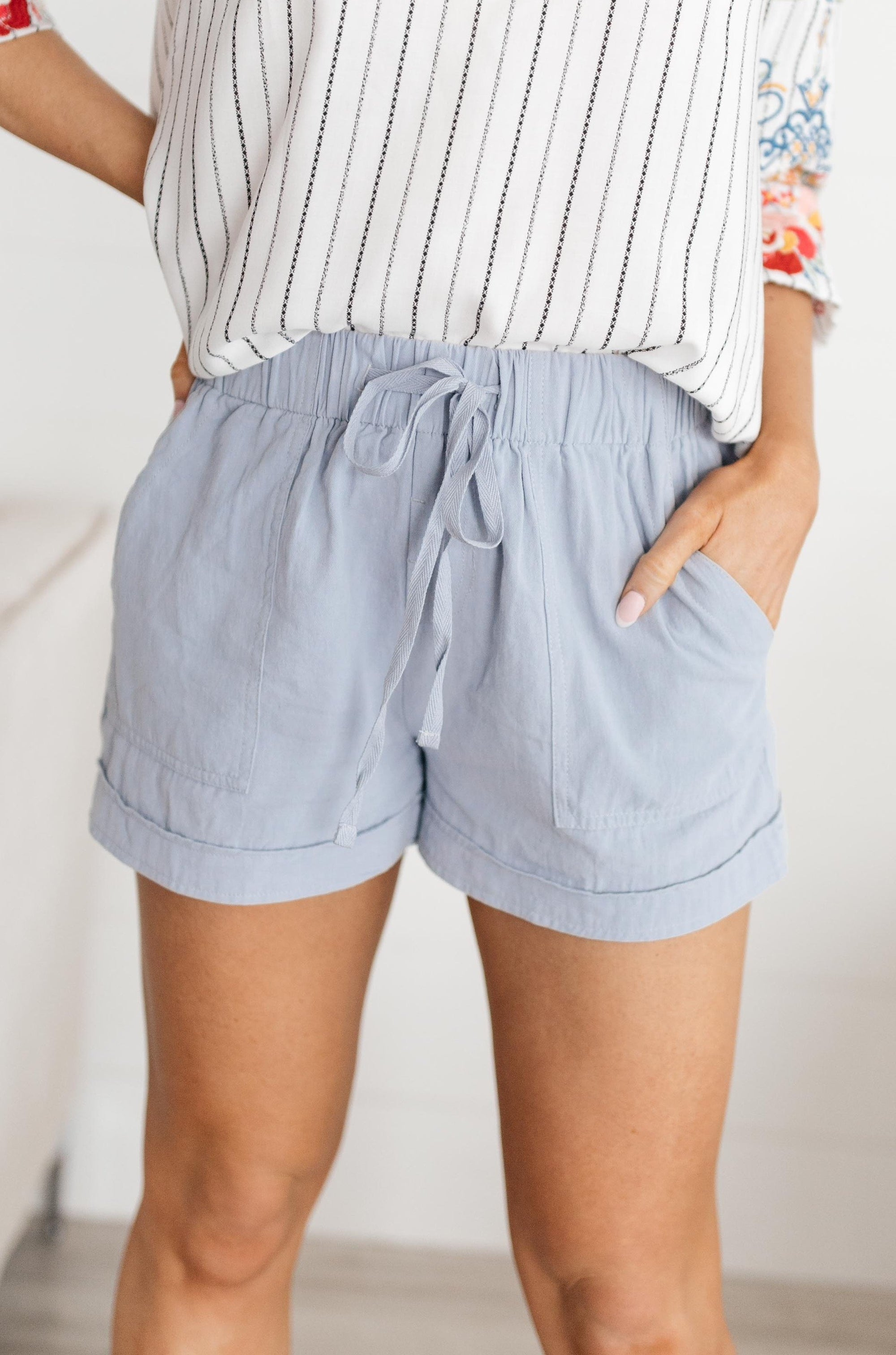 Lightweight and Linen Shorts in Baby Blue-[option4]-[option5]-[option6]-[option7]-[option8]-Womens-Clothing-Shop