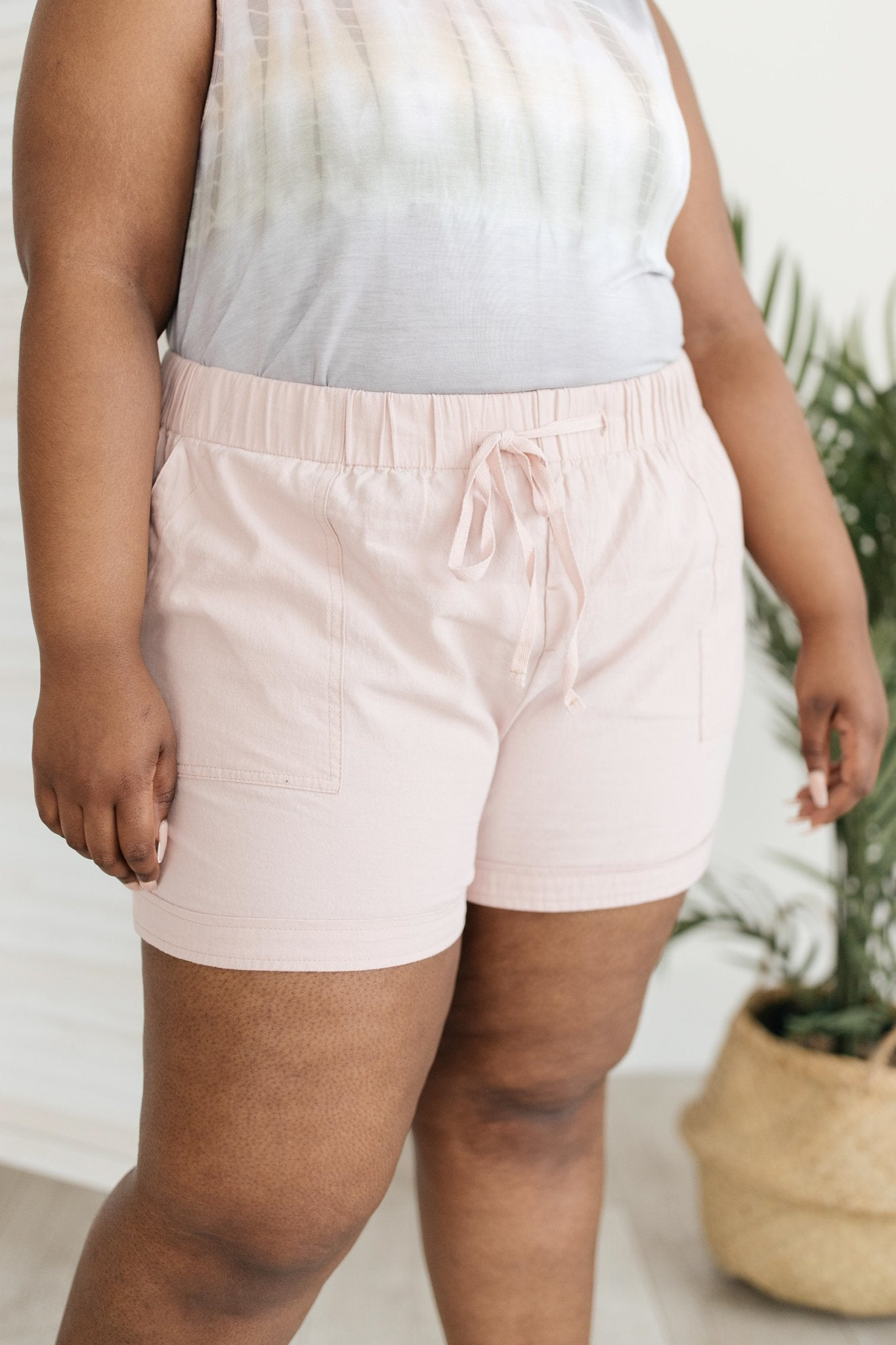 Lightweight and Linen Shorts in Baby Pink-[option4]-[option5]-[option6]-[option7]-[option8]-Womens-Clothing-Shop