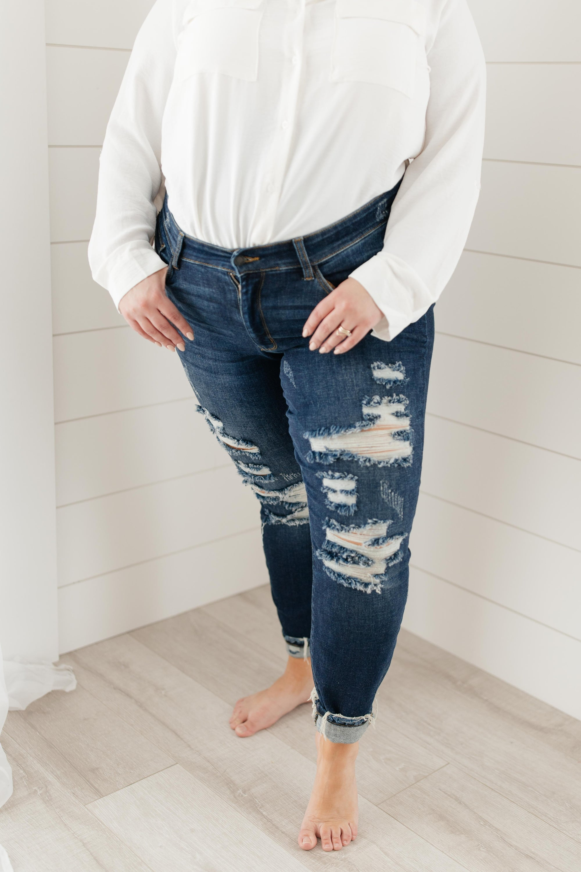 Ripped and Torn Dark Wash Jeans-[option4]-[option5]-[option6]-[option7]-[option8]-Womens-Clothing-Shop