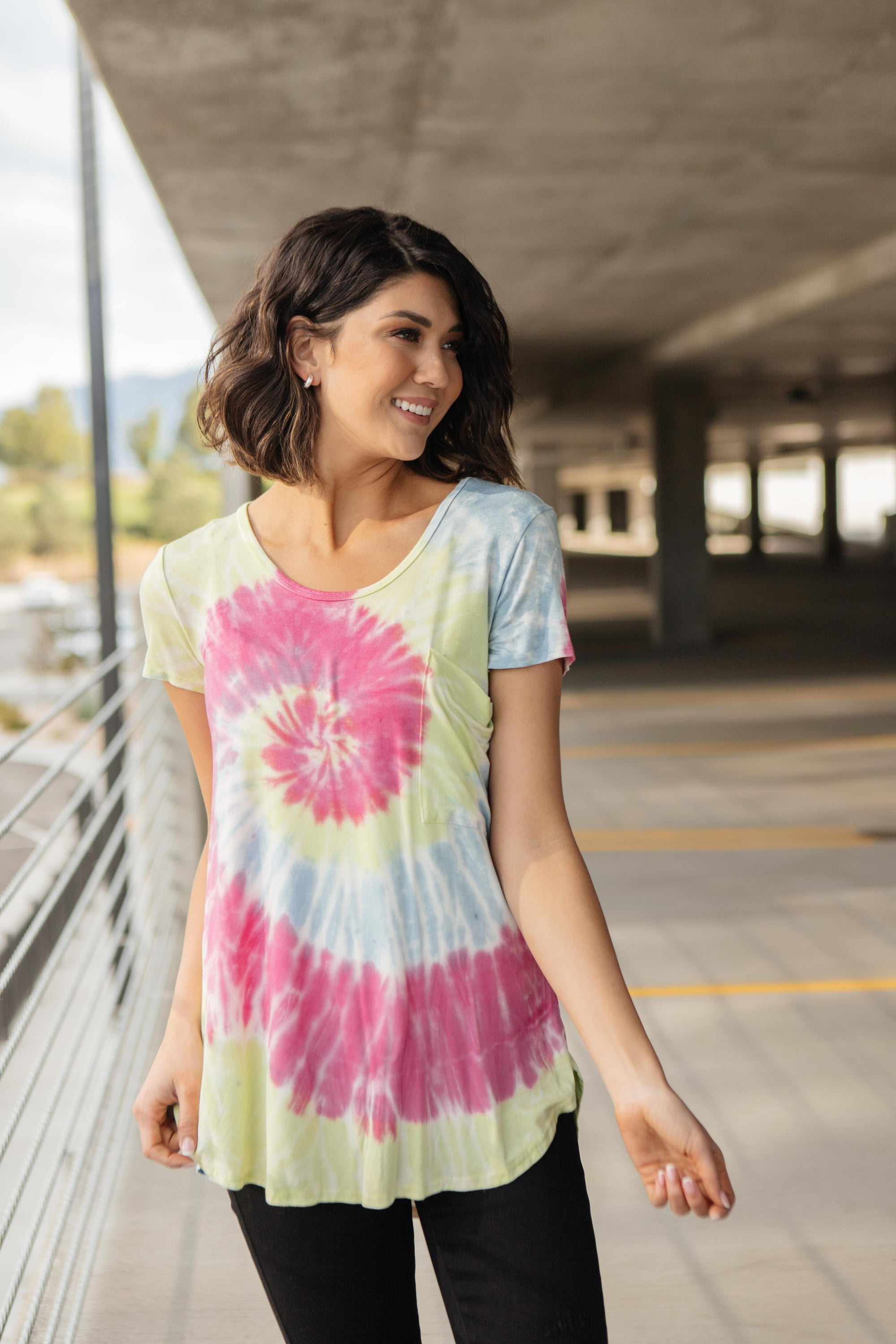 Sassy Swirl Tie Dye Tee In Hot Pink-[option4]-[option5]-[option6]-[option7]-[option8]-Womens-Clothing-Shop