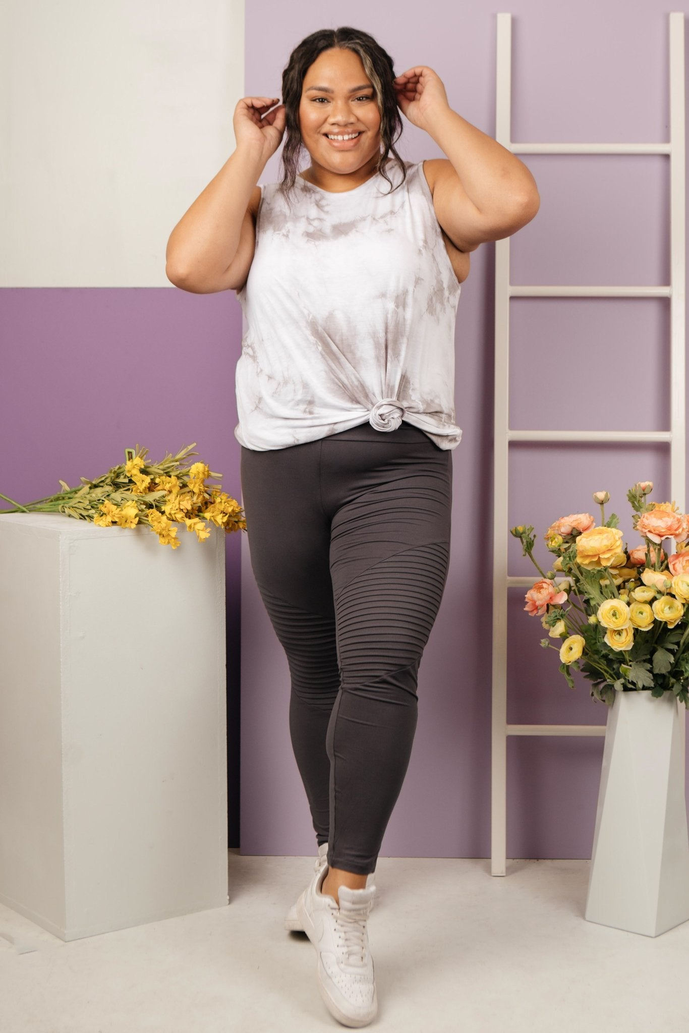 Soft As Butter Moto Leggings in Charcoal-[option4]-[option5]-[option6]-[option7]-[option8]-Womens-Clothing-Shop