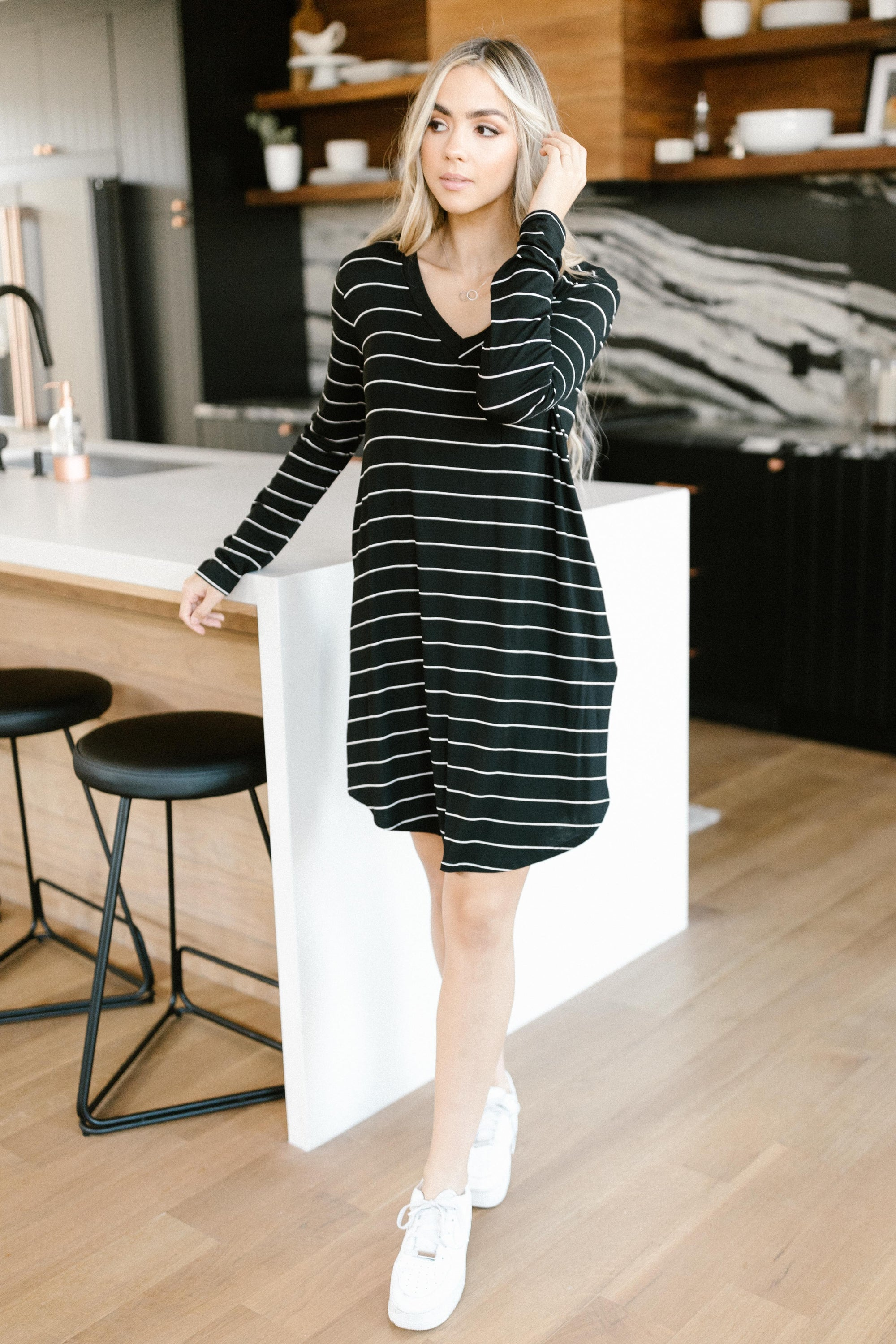 Stripes For Likes Dress in Black-[option4]-[option5]-[option6]-[option7]-[option8]-Womens-Clothing-Shop