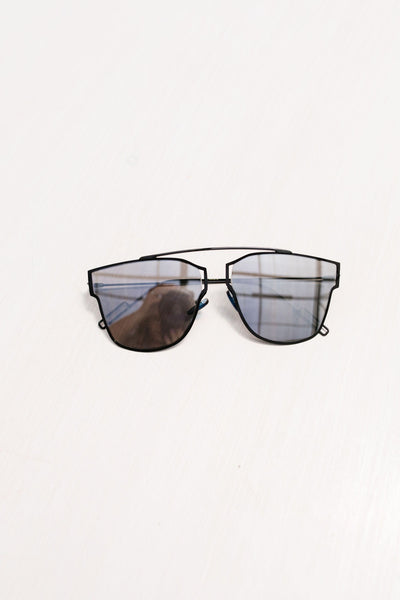 All That Flat Sunnies-Black Frame, Silver Mirror Lens-[option4]-[option5]-[option6]-[option7]-[option8]-Womens-Clothing-Shop