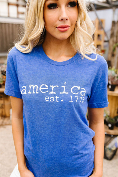 America Graphic Tee In Heather Royal-[option4]-[option5]-[option6]-[option7]-[option8]-Womens-Clothing-Shop