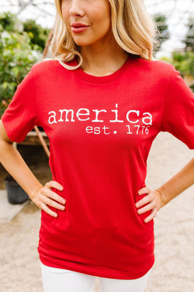 America Graphic Tee In Red-[option4]-[option5]-[option6]-[option7]-[option8]-Womens-Clothing-Shop
