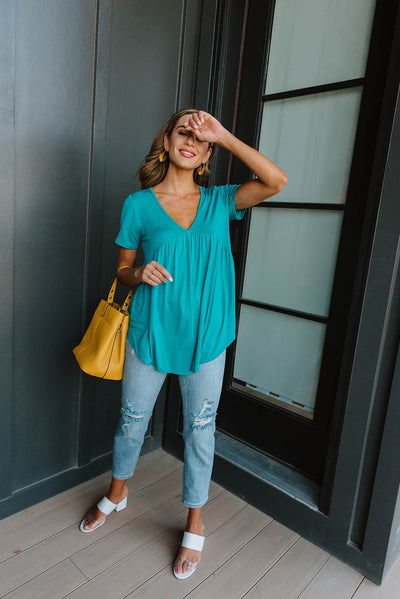 Bamboo Knit Top In Teal-[option4]-[option5]-[option6]-[option7]-[option8]-Womens-Clothing-Shop