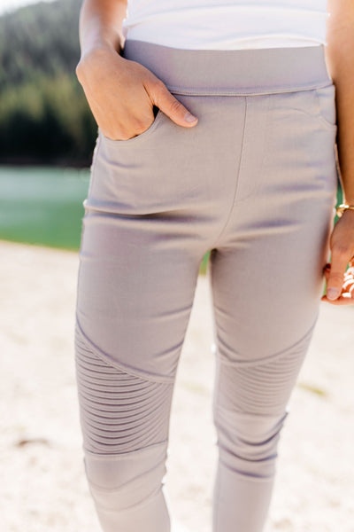 Better Than Great Moto Jeggings In Pale Gray-[option4]-[option5]-[option6]-[option7]-[option8]-Womens-Clothing-Shop