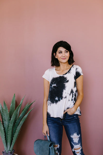 Black Galaxy Tie Dye Top-[option4]-[option5]-[option6]-[option7]-[option8]-Womens-Clothing-Shop