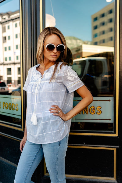Blue Prairie Blouse-[option4]-[option5]-[option6]-[option7]-[option8]-Womens-Clothing-Shop