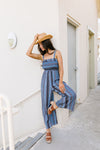 Boho Smocked Jumpsuit In Blue-[option4]-[option5]-[option6]-[option7]-[option8]-Womens-Clothing-Shop