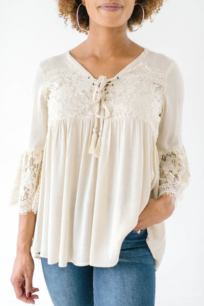 Boho Ties Lace Top-[option4]-[option5]-[option6]-[option7]-[option8]-Womens-Clothing-Shop