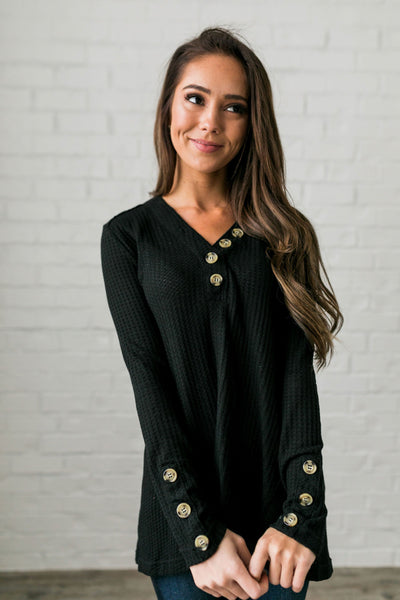 Bountiful Buttons V-Neck In Black-[option4]-[option5]-[option6]-[option7]-[option8]-Womens-Clothing-Shop