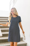 Buttoned To A T-Shirt Dress In Navy-[option4]-[option5]-[option6]-[option7]-[option8]-Womens-Clothing-Shop