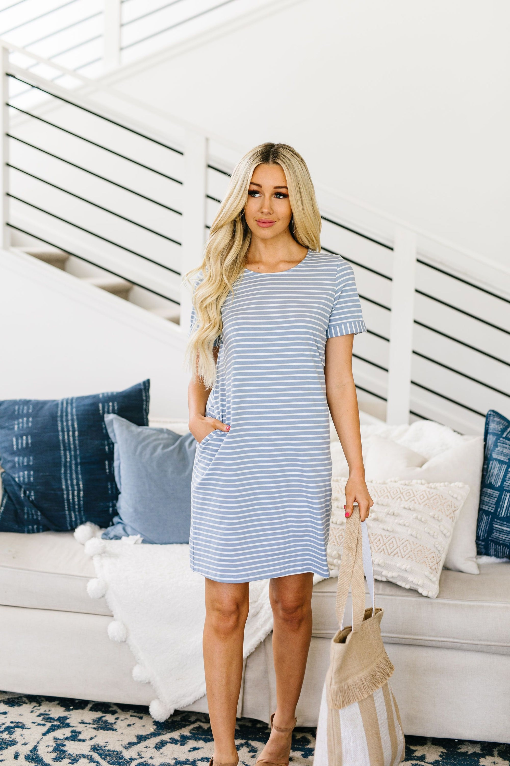 Buttoned To A T-Shirt Dress In Pale Blue-[option4]-[option5]-[option6]-[option7]-[option8]-Womens-Clothing-Shop