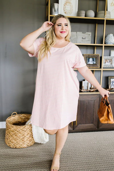 Buttoned To A T-Shirt Dress In Pink-[option4]-[option5]-[option6]-[option7]-[option8]-Womens-Clothing-Shop