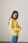 Buttons + Stripes Sweater In Goldenrod-[option4]-[option5]-[option6]-[option7]-[option8]-Womens-Clothing-Shop