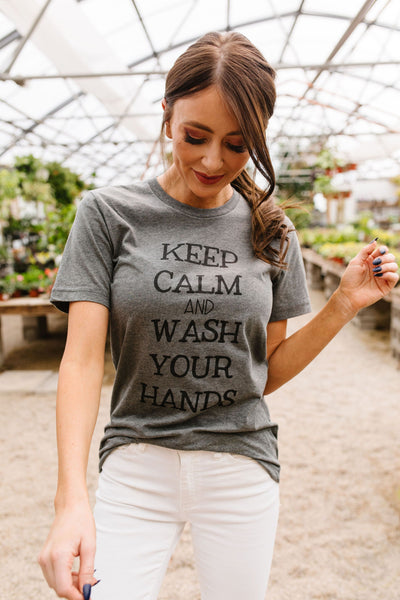 Calm & Clean Hands Graphic Tee-[option4]-[option5]-[option6]-[option7]-[option8]-Womens-Clothing-Shop