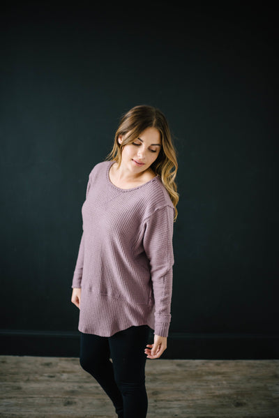Coffee + Waffle Knit Top in Mauve-[option4]-[option5]-[option6]-[option7]-[option8]-Womens-Clothing-Shop