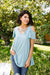 Cold Shoulder Crossed Heart Top In Sage-[option4]-[option5]-[option6]-[option7]-[option8]-Womens-Clothing-Shop